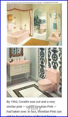 MID CENTURY MODERN Vintage Venetian Pink Ceramic Retro MCM Towel Bar Holders Rod