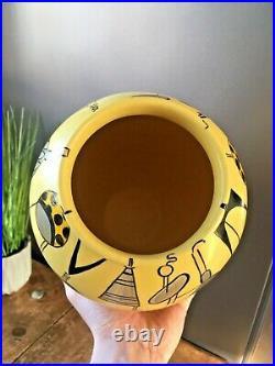 MID Century 60s 70s Atomic Sputnik Inspired Retro Symbols Lamp Vase Jas Original
