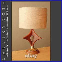MID Century Danish Modern Walnut Table Lamp! 50's Vtg Hans Wegner Swedish Retro