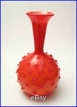 MID Century Empoli Italian Orange Cased Glass Hobnail Vase Vintage Retro