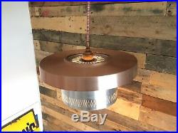 MID Century Modern Danish Space Age Ceiling Light Lamp Shade Silver & Copper 70s