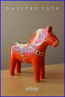 MID Century Modern Sweden Dala Horse Sculpture! Orange Dalecarlian 50's 60's Vtg