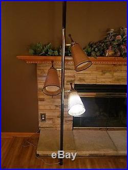MID Century Modern Tension Pole Floor Lamp 3 Light Wicker Vtg Eames Retro Atomic