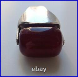 Marbled bakelite 925 Sterling Silver Ring Amber Bakelite Unique Handmade