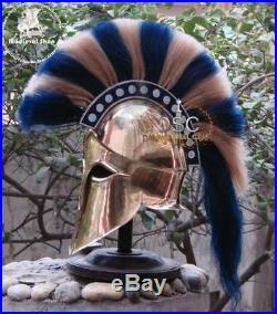 Medieval Greek Corinthian Armour Helmet Blue & White Plume Knight Spartan
