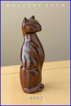 Meow! MID Century Modern Atomic Age Rosewood Cat Sculpture! Vtg 50's 60's Decor