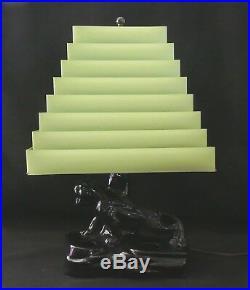 Mid-C Mod TV LAMP Black Ceramic PANTHER + Pyramid Venetian Shade + Orig Finial