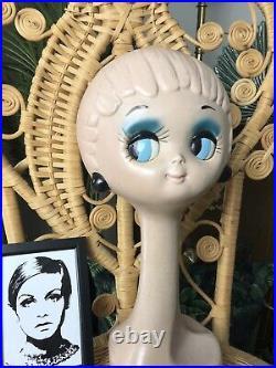 Mid Century 1960s Ultra Rare Twiggy Mannequin Hat Display Head