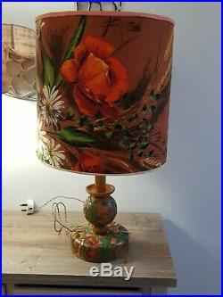Mid Century 60s 70s Original Floral Large Drum Floor/Lamp Base LampShade. Look
