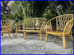 Mid Century Bamboo Sofa Set inc. 2 Chairs, Bohemian Boho Tiki Retro Cane Rattan