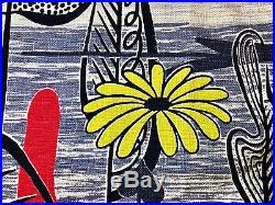 Mid Century Bohemian 1950s Abstract Vintage Barkcloth Fabric Drape Curtain Retro