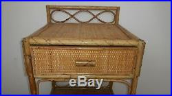Mid Century Bohemian Bamboo Wicker Cane Shelving Unit / Bedside with Drawer