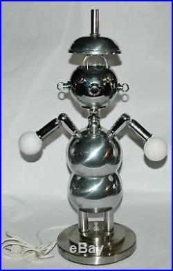 Mid Century Chrome TORINO Robot Lamp SUPER RARE HAT Vintage Eames Retro