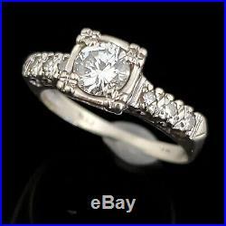 Mid Century Diamond 14k White Gold Engagement Ring Fishtail Retro Estate Vintage