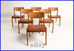 Mid Century Dining Chairs Oak & Leather Danish 1950s Vintage Retro Teak