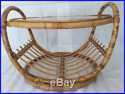 Mid-Century Franco Albini Style, Boho, Bamboo and Glass top Coffee Table 1960s