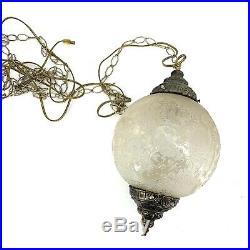Mid Century Hanging Lamp Swag Light Glass Globe Retro Pendant Vintage Chain