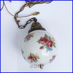 Mid Century Hanging Swag Lamp Light Glass Globe Retro Pendant Vintage Chain