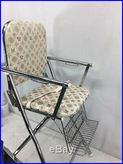 Mid Century Highchair vintage antique retro peterson Chrome metal baby seat Prop