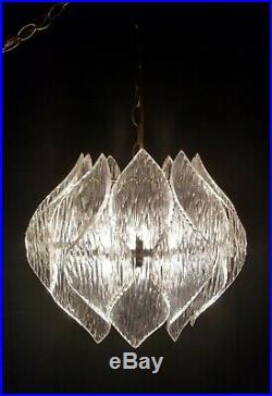 Mid-Century Lucite acrylic hanging swag chandelier lamp light retro vintage 60s