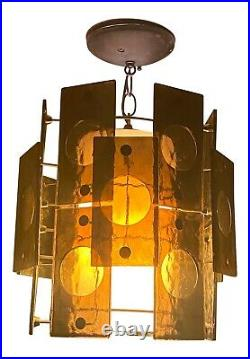 Mid Century Modern 1960's Smoked Lucite Panels Swag Lamp