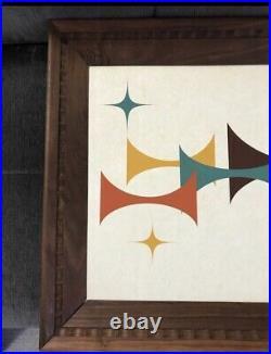 Mid Century Modern Abstract Geometric Framed Wall Art Retro Atomic MCM Vintage