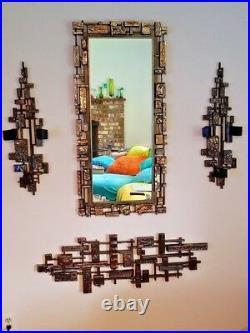 Mid Century Modern Brutalist Mirror Triple Sconces & Sculpture 5 Piece