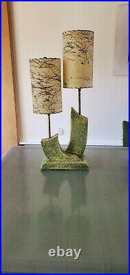 Mid Century Modern Fat Lava Style Two Tier Green Pottery Eames Era Atomic Ranch