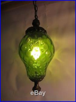 Mid Century Modern Green Swag Lamp Hanging Light Art Glass Retro Vintage Fixture