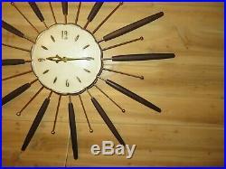 Mid Century Modern Lux Starburst Sunburst Clock Robert Shaw 28 diameter 1963