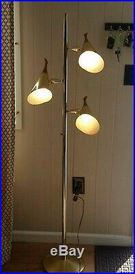 Mid Century Modern Pole Floor Lamp Vintage eames Retro Teak Finials brass chrome