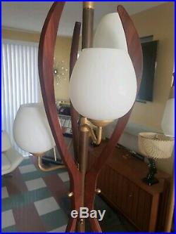 Mid Century Modern Pole Floor Lamp Vintage eames era Retro Teak 1960's
