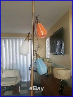 Mid Century Modern Pole Floor Lamp Vintage eames era Retro Teak Finials