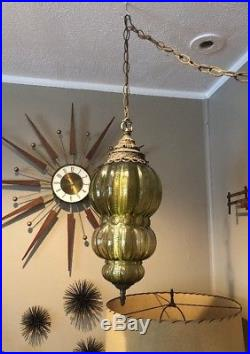 Mid Century Modern RETRO GREEN Glass Ceiling SWAG LAMP Light Chain Vintage WORKS