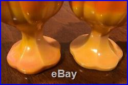 Mid Century Modern Retro Orange Viking Slag Glass Swung Vase LOT OF 3 Vintage