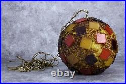 Mid-Century Modern Round Sphere Hanging Chain Resin Pendant Swag Lamp