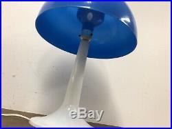 Mid Century Modern TABLE LAMP Blue Mushroom PANTON vintage GUZZINI retro white