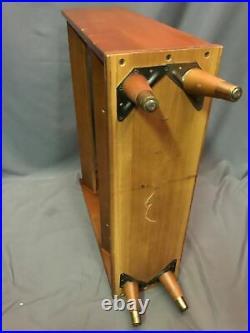 Mid Century Modern Vintage Danish Style Peg Leg Rack Wood Bookshelf Made In USA