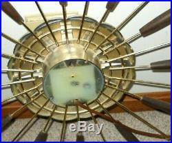 Mid Century Modern, Vintage, Retro Metal, Wood Wall Clock 27 Spoke, Burst