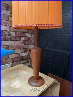 Mid Century Modern Vintage Retro Scandi Teak Wooden Table Lamp And Shade