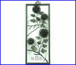 Mid Century Modern WOOD & METAL WALL HANGINGS Decor Set of 4 Floral Designs