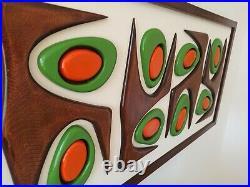 Mid Century Modern Wood Wall Art Sculpture, Eames Era inspired home decor