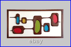Mid-Century Modern Wood Wall Art Sculpture inspired by Atomic Age, 1970s design