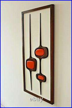 Mid Century Modern inspired wood wall sculpture, Witco style wall art wooden