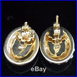Mid Century Opal Angel Skin Coral 14k Yellow Gold Estate Earrings Vintage Retro