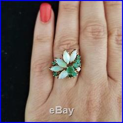 Mid Century Opal Emerald 14k Yellow Gold Cocktail Ring Estate Vintage Retro Gift