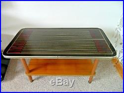 Mid Century Patterned Glass Top Wooden Coffee Side Table Vintage Retro 1960s