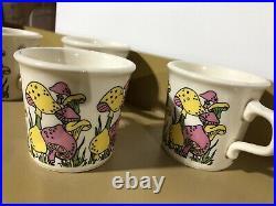 Mid Century Pink Yellow Mushroom Mugs Coffee Cup Ceramic Mod Kitchen Groovy Tea