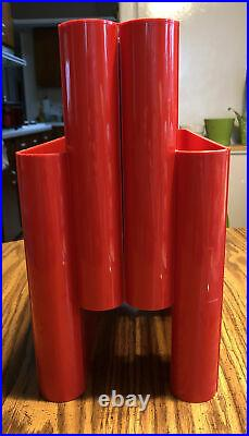 Mid Century Red Kartell, Designed by Giotto Stoppino Magazine Holder 4676