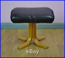 Mid Century Retro Vintage Black Leather Footstool Ottoman Beech Base 1980s